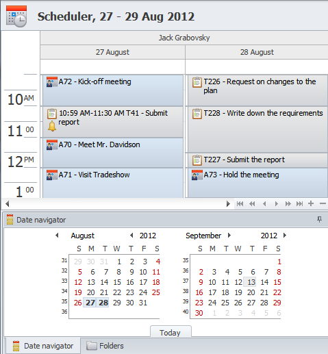 Task & Appointment calendar � Planning and scheduling events