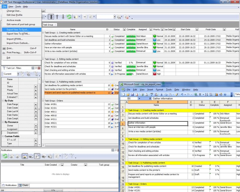 Task spreadsheet software - team project and daily work management ...