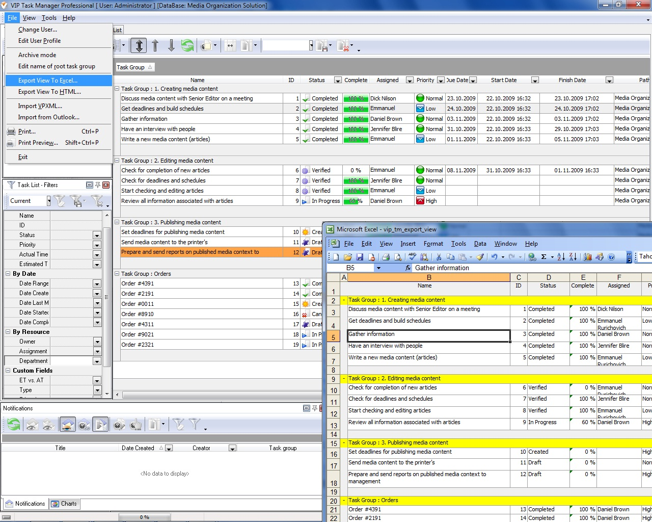Project management reporting for Software planner